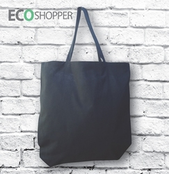 Blank 100% Cotton Black Shopper Shopping Bag